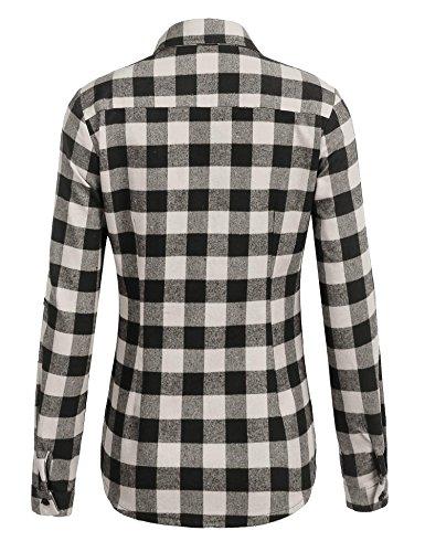 CHIGANT Damen Karierte Bluse Langarm Klassische Karobluse Casual Oberteil Langarmshirt mit Brusttaschen A-2-Grau