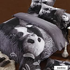 fadfay parure de lit avec housse de couette motif panda. Black Bedroom Furniture Sets. Home Design Ideas