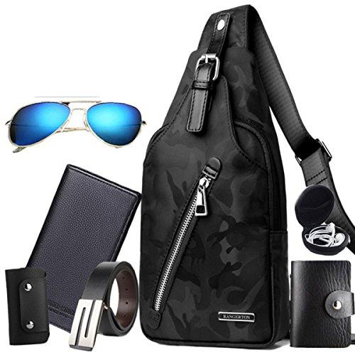 Brusttasche Herren Brusttasche Herren Umhängetasche Lässig Messenger Bag Oxford Tuch Kleine Rucksack Camouflage Herren Tasche,B-OneSize (Tuch Messenger Bag)