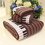 XNWP- 3pcs Jacquard Towel Set, Piano Pattern, Brown or Gray 100% Cotton, Bath Towel Wash Towel & Hand Towel , Brown