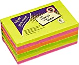 Snopake 127x76mm Sticky Notes - Neon/ Assorted Colours (Pack of 6 , 100 Sheets per Pad)