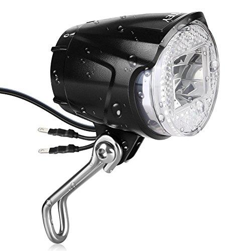 Led-fahrrad-scheinwerfer (INTEY Scheinwerfer LED Fahrradlicht 40 Lux Fahrradbeleuchtung für Nabendynamo Fahrradscheinwerfer, Fahrradlampe mit Anschluss für Rüchlicht, Schwarz)