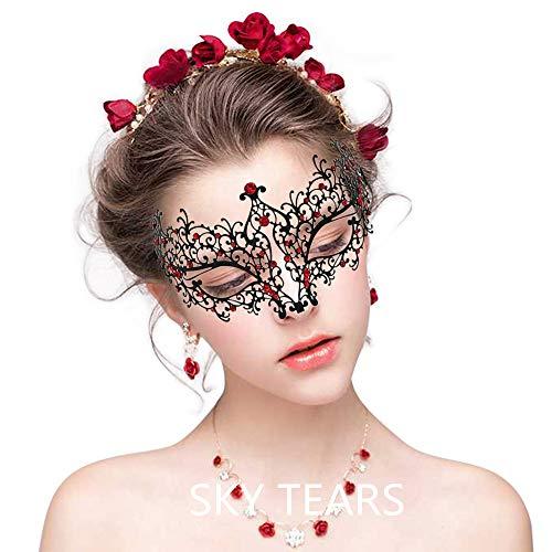 SKY TEARS Metall Venezianischen Maskerade-Maske für Frauen mit Kristallen Laser-Cut
