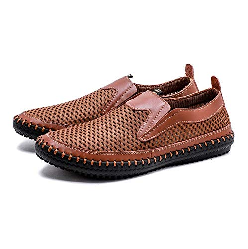 HOTSTREE Big Size 38-48 Summer Breathable Mesh Men Casual Shoes for Comfortable Handmade Men Slip-On Lazy Male Shoes Brown 10