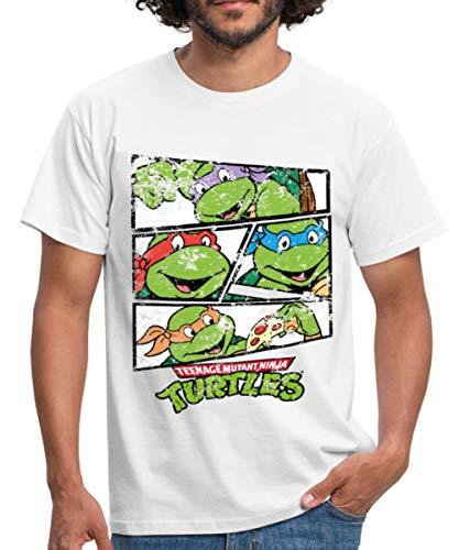 Spreadshirt TMNT Turtles Raphael Donatello Leonardo Michelangelo Männer T-Shirt, M, Weiß (Donatello Der Turtle)