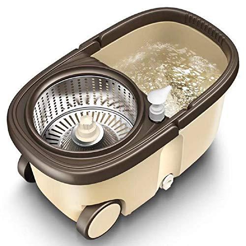 Lm mocio rotante lavapavimenti set - acciao inox 360 ° mocio rotante manico estensibile con 2 teste in microfibra strizzare facile