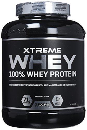 Xcore Xtreme 100% Whey Protein Powder 2kg - Aumenta el Crecimiento y el mantenimiento de la masa muscular- Suplemento Vegetariano con BCAA, Glutamina y Vitaminas - Sabor a Chocolate - 60 Dosis