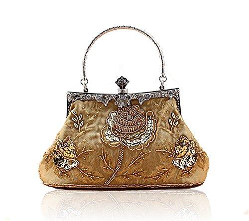 Heyjewels Vintage Handmade Damen Beaded Perlen Clutch Glitzer Blumen Abendtasche Mehrfarbig Golden