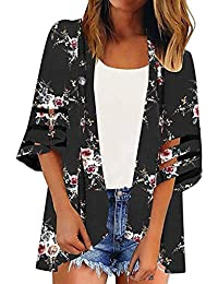 cc87ddc3636 FNKDOR Spring Fashion Women Lace Floral Open Cape Casual Coat Loose Blouse  Kimono Jacket Cardigan Tops