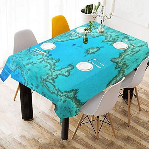 Australien Great Barrier Reef Coral Benutzerdefinierte Baumwolle Leinen Gedruckt Platz Fleck Beständig Tischwäsche Tuch Abdeckung Tischdecke Für Küche Home Esszimmer Tischplatte Decor 60x84 Zoll