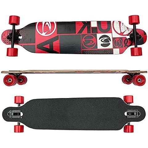 Longboard racing rossa, con cuscinetti ABEC 7, in legno d'acero canadese