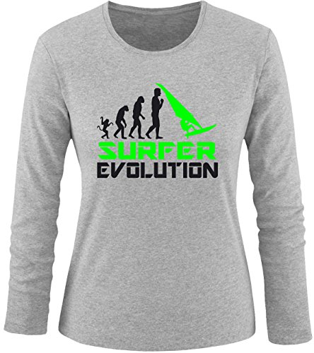 EZYshirt® Surfer Evolution Damen Longsleeve Grau/Schwarz/Neongr