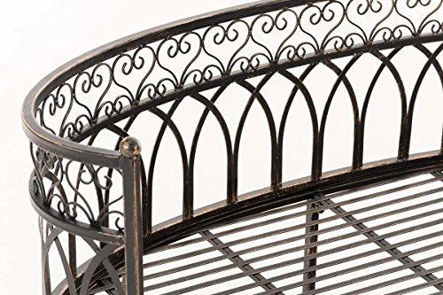 CLP Metall-Gartenbank AMANTI mit Armlehne, Landhaus-Stil, Eisen lackiert, Design antik nostalgisch, Form oval ca. 110 x 55 cm Bronze - 4