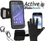 Navitech wasserdicht Schwarz Sport / Fitness / Jogging / Radfahren / Skifahren Armband Tasche Oberarmtasche Schutz Hülle Etui Case mit schwarzen Touchscreen Handschuhen für das Sony Xperia Z3 Compact / Sony Xperia Z1 Compact