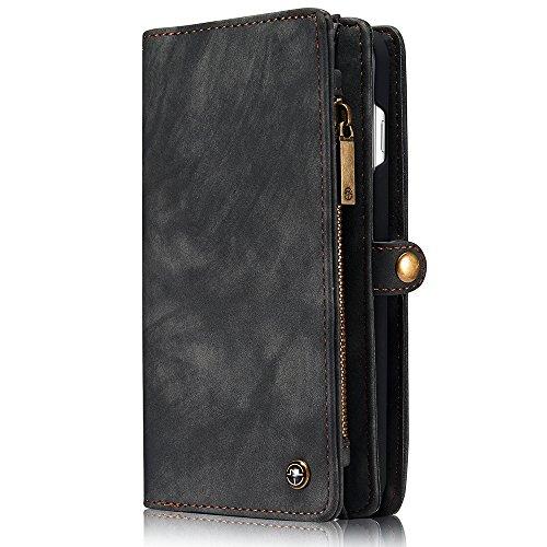 iPhone/Samsung Leder Handytasche Case Hülle Geldbörse mit Kartenfach abnehmbar Magnet Handy Schutzhülle für Samsung Galaxy S7 in Grau (Abnehmbarer Leder)