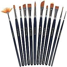 PINTURA cepillos, sicai 12piezas Juego de brochas de pintura artista arte pintura pinceles para acrílico y óleo