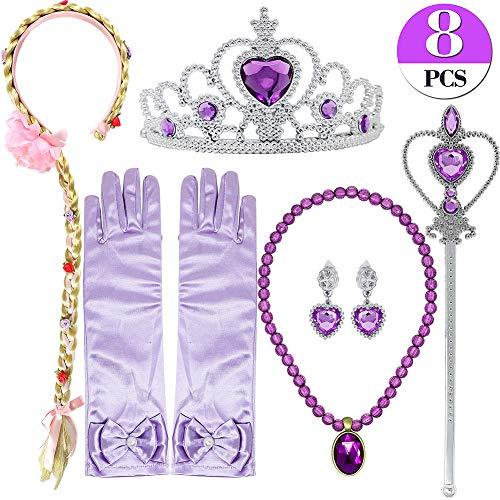 Bascolor Prinzessin Sofia Rapunzel Kostüm Zubehör Set inklusive Handschuhe Ohrring Kaiserkrone Zauberstab Halskette Zopf Prinzessin Schmuck für Kinder Mädchen (mit - Rapunzel Prinzessin Dress Up Kostüm