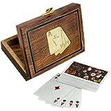 Caja de la tarjeta de juego de madera para el almacenamiento - titular de la tarjeta de juego con la cubierta de la tarjeta - juegos de cartas - 3,81 x 11,43 x 8,89 cm
