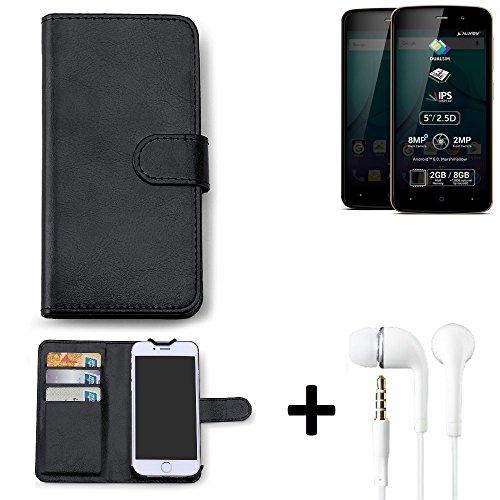 K-S-Trade Hülle für Allview P6 Plus Schutz Wallet Case Walletcase schwarz Handytasche Klapphülle inkl. Kopfhörer in Ear Headphones
