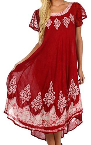 Sakkas B009 Batik Hindi Cap Sleeve Kaftan Kleid/Cover Up - Rot/Weiß - One Size -