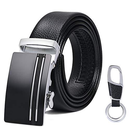 flintronic® Herren Gürtel, Leder Ratsche Automatik Gürtel für Männer Ledergürtel Breite 3.5cm Länge 125CM (inkl & Geschenkbox)
