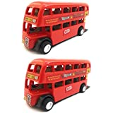 Combo Toys Of Double Decker Bus (Mini, Small Size) Toy For Kids | Pull Back And Go | Red Color | Set Of 2 Toys