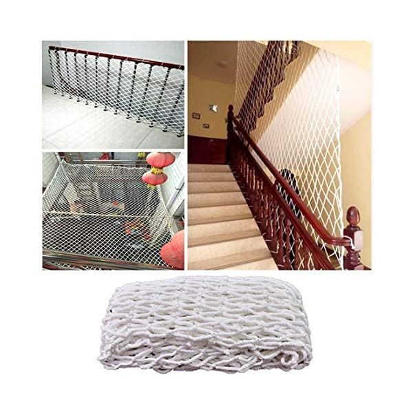 Freight Net,Playground Rope Net, Stair Children Protection Netting Balcony Cats Safety Nets, Cargo Rope Ladder Truck Trailer Netting White Nylon Net Banister Protection Fence Playground Decoration Mes SFMND ▲Multi-use Protection Net:Family balcony and railing balcony stairs safety net banister stair anti-cat climbing, anti-high fall and other intensive protection; Wall ,home, theme party hotel, guesthouse, cafe, bookshop, restaurant, decoration,hanging ect. ▲Characteristics of Decoration Net: Soft material, light mesh, multi-layer warp and weft, precise wiring, workmanship; high temperature sunscreen, waterproof; clear lines, anti-slip endurance and anti-wear. ▲Ceiling net, decorative net, shed partition net, photo wall, hanging net, stair safety net and protective net. 1