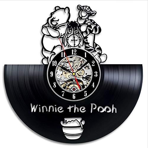 TIANZly Retro Vinyl Wanduhr Retro Modernes Design Cartoon 3D Aufkleber Winnie The Pooh Uhr Wanduhr Dekoration Stille (Halloween-musik Pooh Winnie)