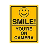 #10: Fusion High Quality Smile You Are On Camera Sign Self-Adhesive Vinyl Stickers ( Size :- 8 inch x 6 inch )
