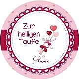 Tortenaufleger Taufe4 rosa mit Wunschtext / 20 cm Ø
