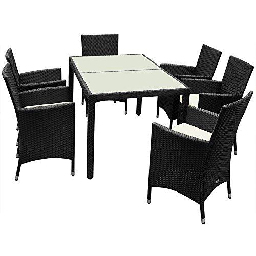 Poly Rattan Sitzgruppe 6+1 mit stapelbaren Stühlen Sitzgarnitur Gartengarnitur Gartenset - 7