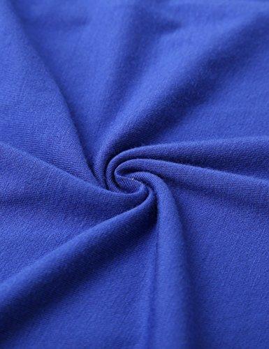 WAJAT Damen Wickelkleid A-Line V-Ausschnitt Casual Vintage Elegante Kleider Kurzarm-Blau