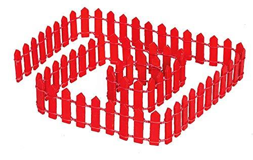 VBS Dekozaun Miniaturzaun Krippenzaun Krippen 90x3 cm aus Holz in Natur und rot rot