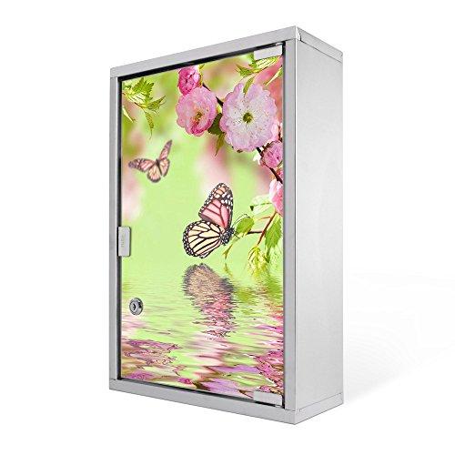 #Medizinschrank groß Edelstahl abschliessbar 30x45x12cm Arzneischrank Medikamentenschrank Hausapotheke Erste Hilfe Schrank Motiv Japanische Kirschblüte#