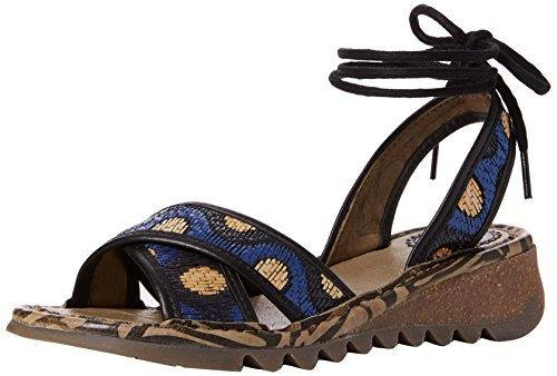 Fly London Tima707fly, Sandali Aperti con Zeppa Donna Multicolore (black/blue/beige 001)