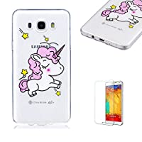 For Samsung Galaxy J710/J7 2016 Case [with Free Screen Protector],Funyye Fashion lovely Lightweight Ultra Slim Anti Scratch Transparent Soft Gel Silicone TPU Bumper Protective Case Cover Shell for Samsung Galaxy J710/J7 2016 - Lovely horse