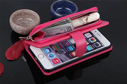 Große Menge Solid Farbe Leder Tasche Tasche mit Reißverschluss Sicherheit mit abnehmbarem Deckel für iPhone 7 Plus ( Color : Rose ) Red