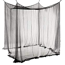 Unimall Mosquito net Bed canopy Deco canopy Mosquito repellent for single or double beds Black