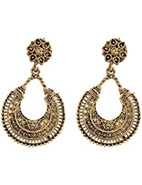 Ganapathy Gems Oxidized Brass Chand Bali With Stud For Women (6183) 6183