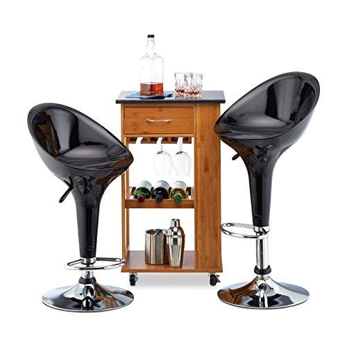 Relaxdays Barhocker 2er Set, höhenverstellbar, drehbar, bis 120 kg, mit Lehne, Barstuhl, HxBxT: 101 x 45 x 40 cm, schwarz