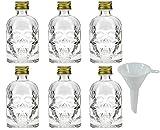 6x kleine Glasflasche 50 ml, Karaffe in Totenkopf Form mit Schraubschluss zum Selbstbefüllen inkl. einem Trichter