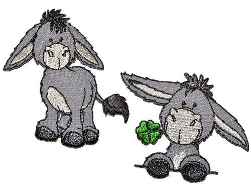 alles-meine.de GmbH 2 TLG. Set NICI Esel - 6,8 cm * 5,8 cm - Bügelbild Aufnäher Applikation - Pferd Steht grau Tier Bauernhof Tiere Hausesel Klee Glück