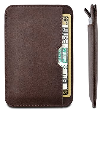 Chelsea Slim Card Sleeve Wallet with RFID Protection by Vaultskin – Top Quality Italian Leather – Ultra Thin Card Holder Design For Up To 12 Cards (Brown)
