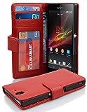 Cadorabo Hülle für Sony Xperia Z Hülle in INFERNO Rot Handyhülle mit 3 Kartenfächern Case Cover Schutzhülle Etui Tasche Book Klapp Style Inferno-Rot