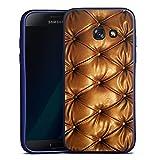 Samsung Galaxy A3 2017 Silikon Hülle Blau Case Schutzhülle Leder Muster Sofa Leder Couch Look