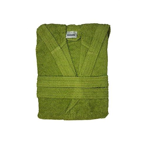 Bassetti time accappatoio spugna con cappuccio uomo donna da 360 gr/mq, verde acido, s
