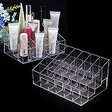 Clara acrílico 24 pintalabios titular Display Stand cosméticos almacenamiento Rack organizador maquillaje conforman Carcasa caja contenedor para Mac Dior Loreal