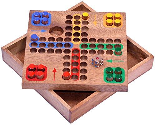 Ludo Gr. M - Würfelspiel - Gesellschaftsspiel - Familienspiel - Brettspiel aus Holz mit Steckern