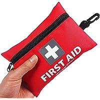 General Medi Mini-Erste-Hilfe-Kit, 92 Stück kleine Erste-Hilfe-Kit - enthält Emergency Foil Blanket, CPR Gesichtsmaske, Schere für Reisen, Haus, Büro, Fahrzeug, Camping, Arbeitsplatz & Outdoor (Rot)