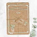 10 Rustikale Hochzeits-Einladungskarten mit Blumen im Einmachglas